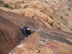 Rock Climbing Photo: Following Josh on the crux 3rd pitch