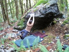 Rock Climbing Photo: swinging out after the sideways dyno...