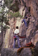 Rock Climbing Photo: John Yaworsky leading right side of  Hell Wall (?)...