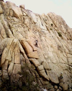 Rock Climbing Photo: Cali reaching the crux - thin hands, no feet, supe...