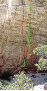 Rock Climbing Photo: Crime and Punishment (5.11) shown in green.  Just ...