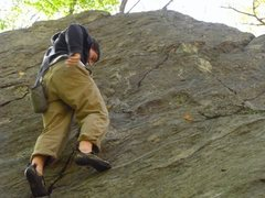 Rock Climbing Photo: Entering the crux of the crack you can see the mel...