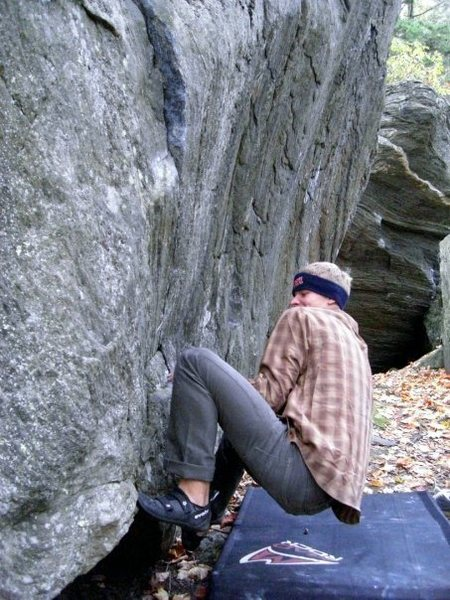 Rock Climbing Photo: Matt C pulling of the ground (crux) you can see th...