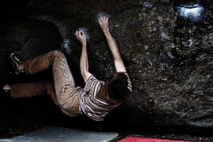 Rock Climbing Photo: Me, about to make the toss.  The hold was full of ...