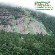 Rock Climbing Photo: the line of interloper is in red...