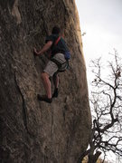 Rock Climbing Photo: Just below the bulge(crux) before topping out to e...