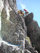 Rock Climbing Photo: Tom on the FFA of the 2nd pitch.