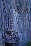 Rock Climbing Photo: Free-solo, Italian barefoot in speedo, just after ...