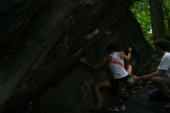 Rock Climbing Photo: Laura Hahn solving the traverse moves coming out F...