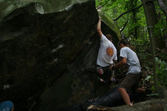 Rock Climbing Photo: Carl Samples moving around the roof weakness for a...