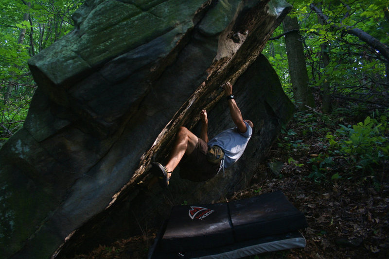 Working the moves on Mouse Hole Block project.  The Ridge Bouldering, Connellsville, PA