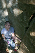 Rock Climbing Photo: mike catching a rest before finishing up the send!