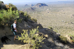 Rock Climbing Photo: Rick descending the Tom's Thumb trail.  The closes...
