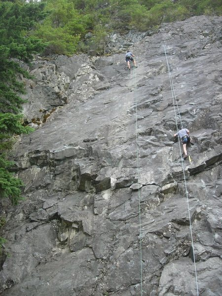 My friend Doug Seitz rappelling from the top of Sobriety.  The line is pretty much right along the rope.