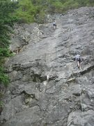 Rock Climbing Photo: My friend Doug Seitz rappelling from the top of So...