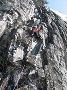 Rock Climbing Photo: Crux move coming up.  Photo by Burt Lindquist.