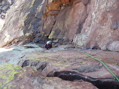Rock Climbing Photo: The last steep pitch.  There are some loose scary ...