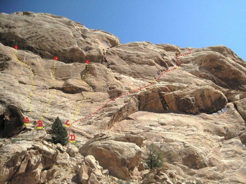 Rock Climbing Photo: A)Curiosity Killed the Rat.5.9+ B).Rat Trap 5.10. ...