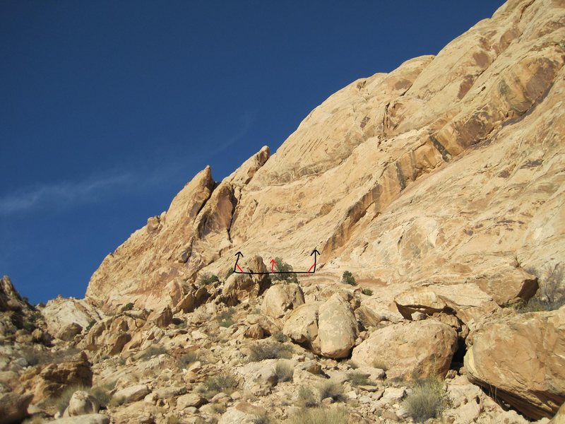 Rock Climbing Photo: View of the Rat Slab from the Canyon floor.