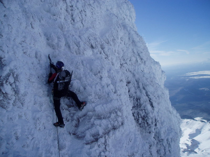 Climbing rime ice on the Steel Cliffs, Mt. Hood, Oregon