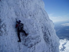 Rock Climbing Photo: Climbing rime ice on the Steel Cliffs, Mt. Hood, O...