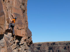 Rock Climbing Photo: Starting up Nirvana Blues on a gorgeous fall day.