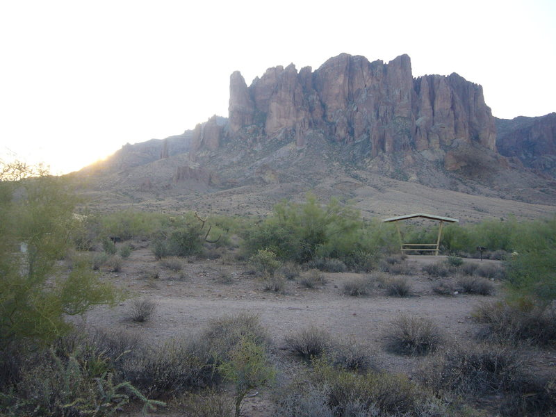 Distant view of Superstition Mountains.
