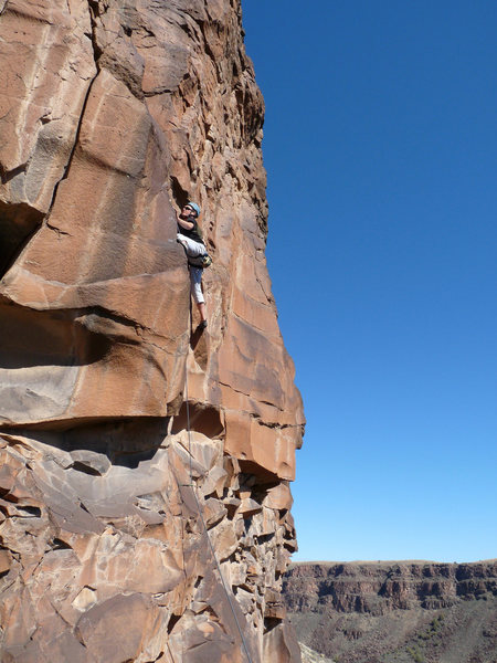 Rock Climbing Photo: On the (side of the) mesa. Lee goes for it.