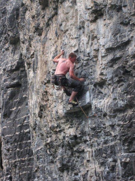 Rock Climbing Photo: Watch those feet! (Crux Move)