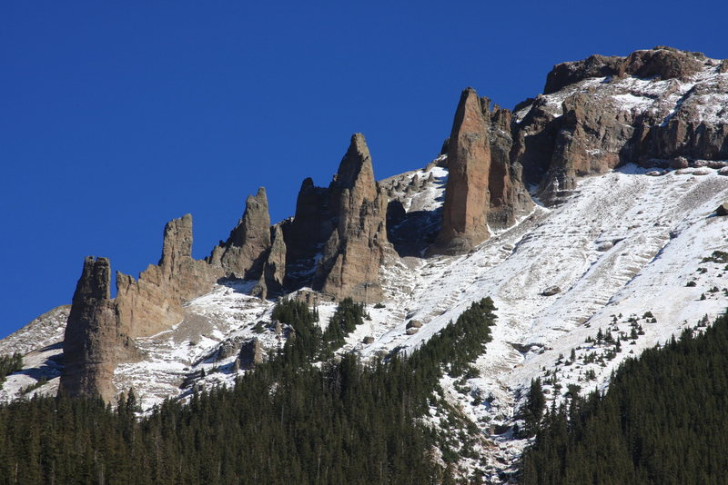 Minarets and boulders along the west flank of Dunsinane Mountain.