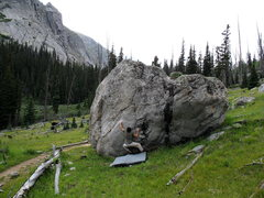Rock Climbing Photo: Scott Neel getting started on Downtrail Face, Trai...