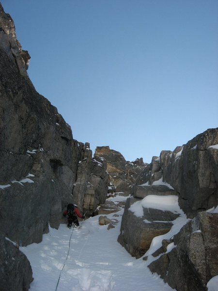 Andy Grauch leading one of the upper pitches of the North Couloir on Mount Toll.  Photo by Chris Sheridan, taken on 9/26/09.