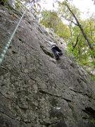 Rock Climbing Photo: Skye following, already past the hard part.