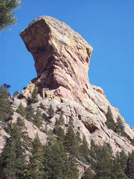 The North/West face of Devil's Thumb from Shadow Canyon Trail.