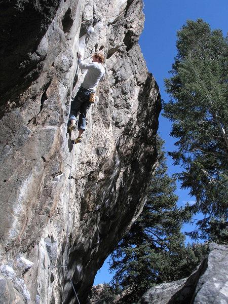 Rock Climbing Photo: Rob mid-crux on Public Solitude.