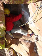 Rock Climbing Photo: P4 chimney.  You can see the infamous pin below my...