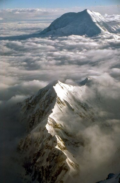 The Kahiltna Peaks with Foraker in the distance, from the S Buttress of McKinley.