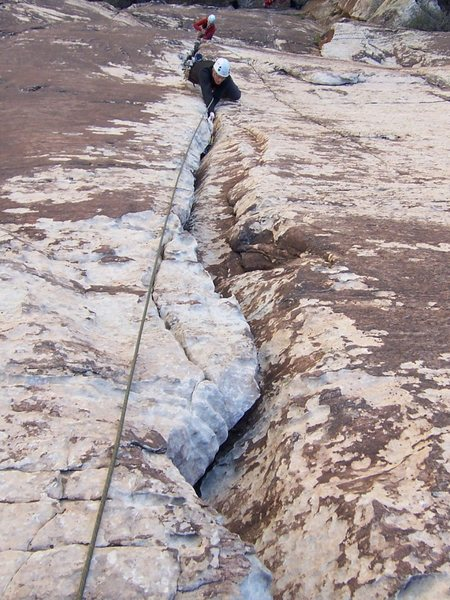 Rock Climbing Photo: If you link P1/2 up to the wide section, you will ...