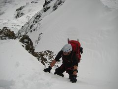 Topping out on the Lost Rat Couloir
