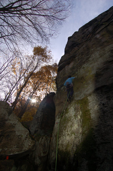 Rock Climbing Photo: Laura Hahn starting up Mosquito at Breakneck Rocks...