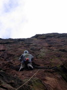 Rock Climbing Photo: Lenny Miller faces the crux headwall of Little Kin...