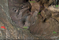 Rock Climbing Photo: Panther Peak parking and approach map. Please avoi...