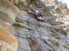 Rock Climbing Photo: Moving through P3 of Gelsa.  Really steep for 5.4!
