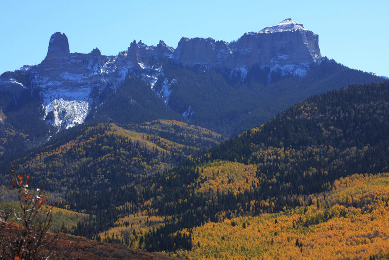 The Chimney Rock and Courthouse Mountain massif.