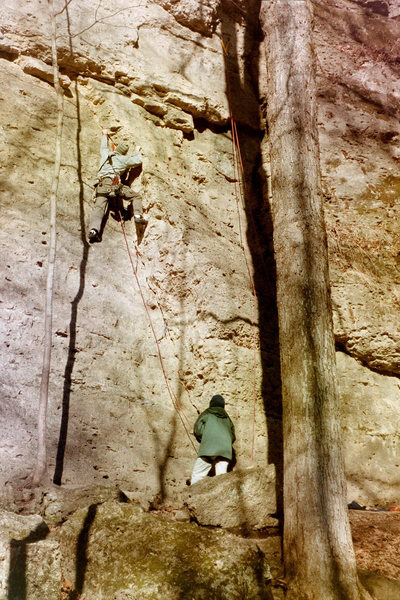 Rock Climbing Photo: Amos leading Collin's crack back in 2002