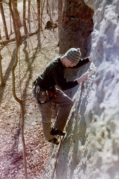 Rock Climbing Photo: Amos leading Young and the Bold back in 2002.