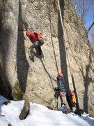 Rock Climbing Photo: Jugular on a cold February day. Elliott Cambell is...