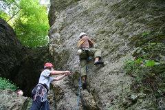 Rock Climbing Photo: Joe Pyle setting off onto Schoolio