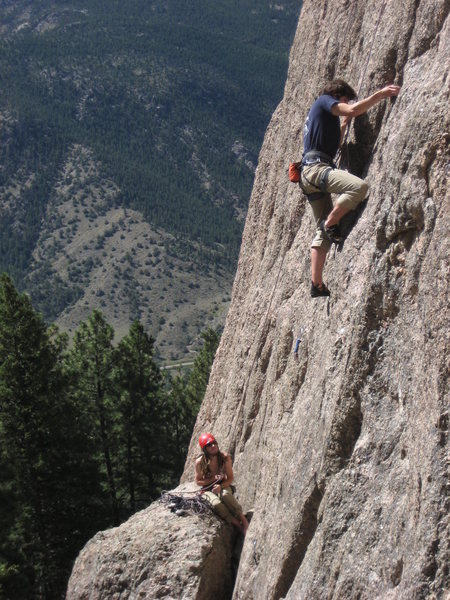 Rock Climbing Photo: Brent cruising up Monastic Groove.