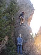 Rock Climbing Photo: Amos heading into the crux.